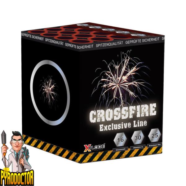 Crossfire Crossette Batterie mit 16 Schuss + Crackling & Sternbukkets von Xplode - Pyrodoctor Feuerwerk Online Shop