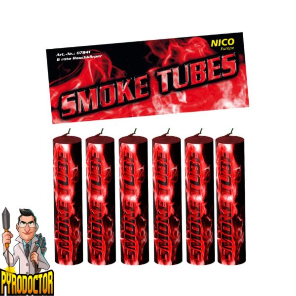 Smoke Tubes rookfakkels in rood – 6 stuks rookbuizen van NICO - Pyrodoctor Vuurwerk Online Shop