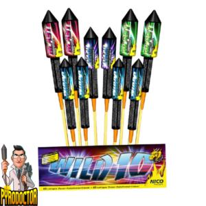 Wild 10 Raketen-Sortiment + Mittelgroßer Raketenbeutel von NICO - Pyrodoctor Feuerwerk Online Shop