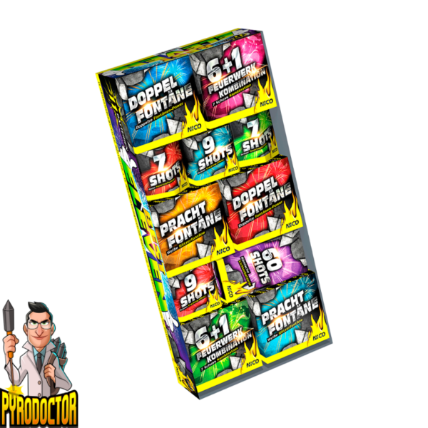 Best Eleven vuurwerkassortiment met 11 batterijen + 110 lichteffecten van NICO - Pyrodoctor Vuurwerk Online Shop