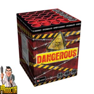 Dangerous vuurwerkbatterij met 25 rondes + rode beklimming met knipperende sterren van Xplode - Pyrodoctor Vuurwerk Online Shop