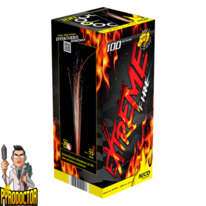 Extreme Fire romeinskaars batterijl + 100 shots van kleurrijke lichtballen van NICO - Pyrodoctor Vuurwerk Online Shop