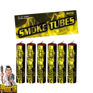 Smoke Tubes Rauchfackeln in Gelb – 6er Pack Rauchkörper von NICO - Pyrodoctor Feuerwerk Online Shop