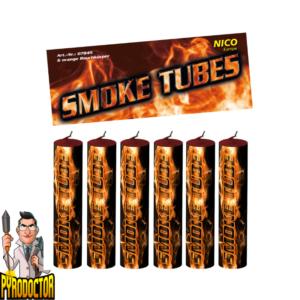 Smoke Tubes rookfakkels in oranje - 6 stuks rookbuizen van NICO - Pyrodoctor Vuurwerk Online Shop