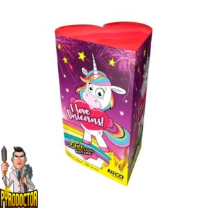 I love Unicorns Fontänenbatterie mit 25 Schuss + Farbenfrohe Einhorn Effekte von NICO - Pyrodoctor Feuerwerk Online Shop