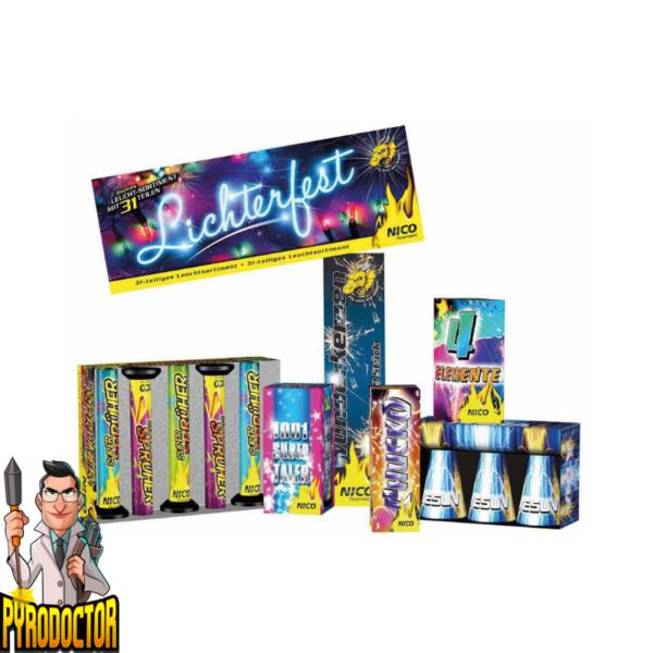 Lichterfest Leuchtsortiment + 17-teiliges Fontänensortiment von NICO - Pyrodoctor Feuerwerk Online Shop