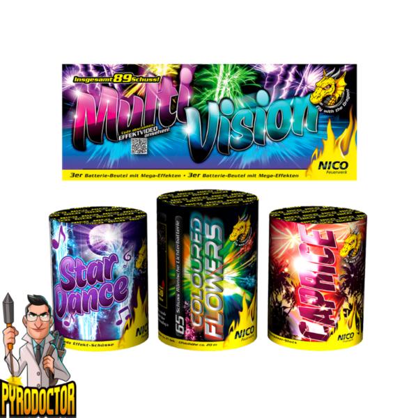 Multivision 3er Feuerwerk Batterie Beutel mit 89 Schuss + 110 Mega Effekte von NICO - Pyrodoctor Feuerwerk Online Shop