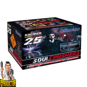 Soul Crushers Feuerwerk-Batterie-Sortiment mit 128 Schuss + 25mm großkaliber Geschosse von Vulcan