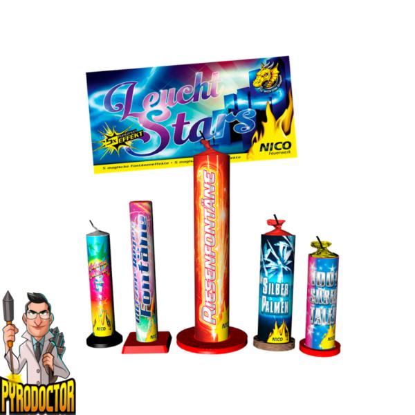 Leucht Stars 5-teiliges Leuchtsortiment + Magische Fontänen Effekte von NICO - Pyrodoctor Feuerwerk Online Shop