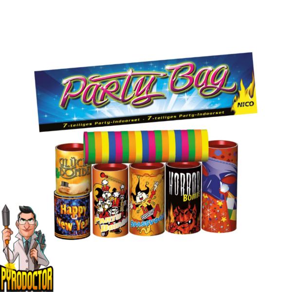 Party Bag 7-teiliges-Sortiment + 6 Tischbomben & Luftschlangen von NICO - Pyrodoctor Feuerwerk Online Shop